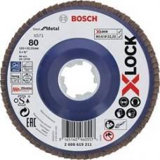 BOSCH X-LOCK Best for Metal žiedlapinis diskas 125 mm K80