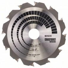 BOSCH ConstructWood pjovimo diskas 180x2,6 mm T12