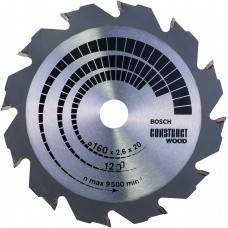 BOSCH ConstructWood pjūklo diskas 160x2,6 mm T12